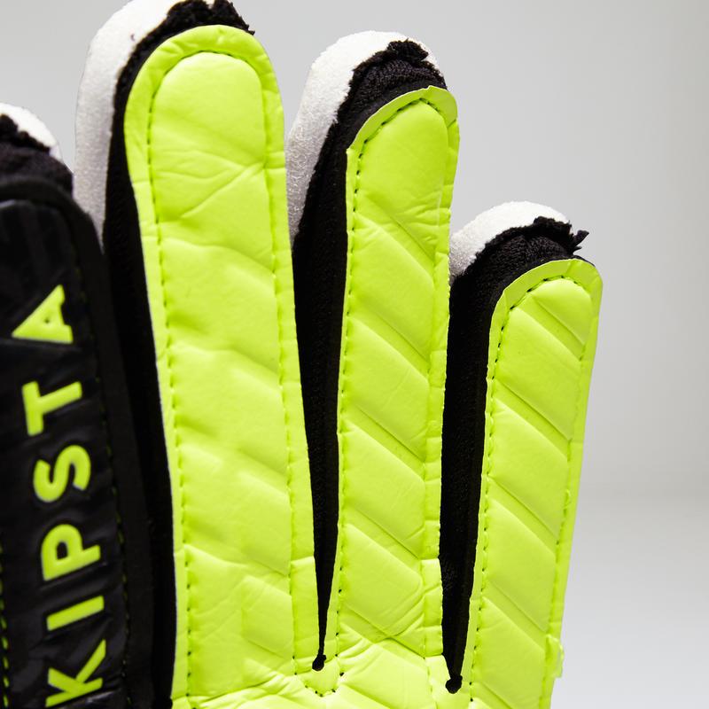 Guantes de arquero de fútbol para adulto F100 negro amarillo
