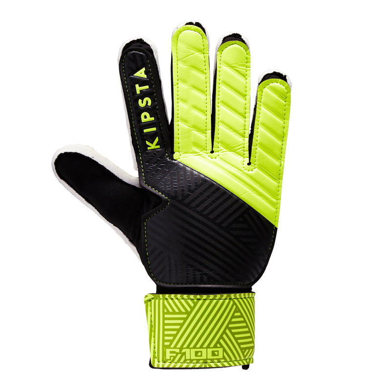 F100 Kids' Football Goalkeeper Gloves - Black/Yellow