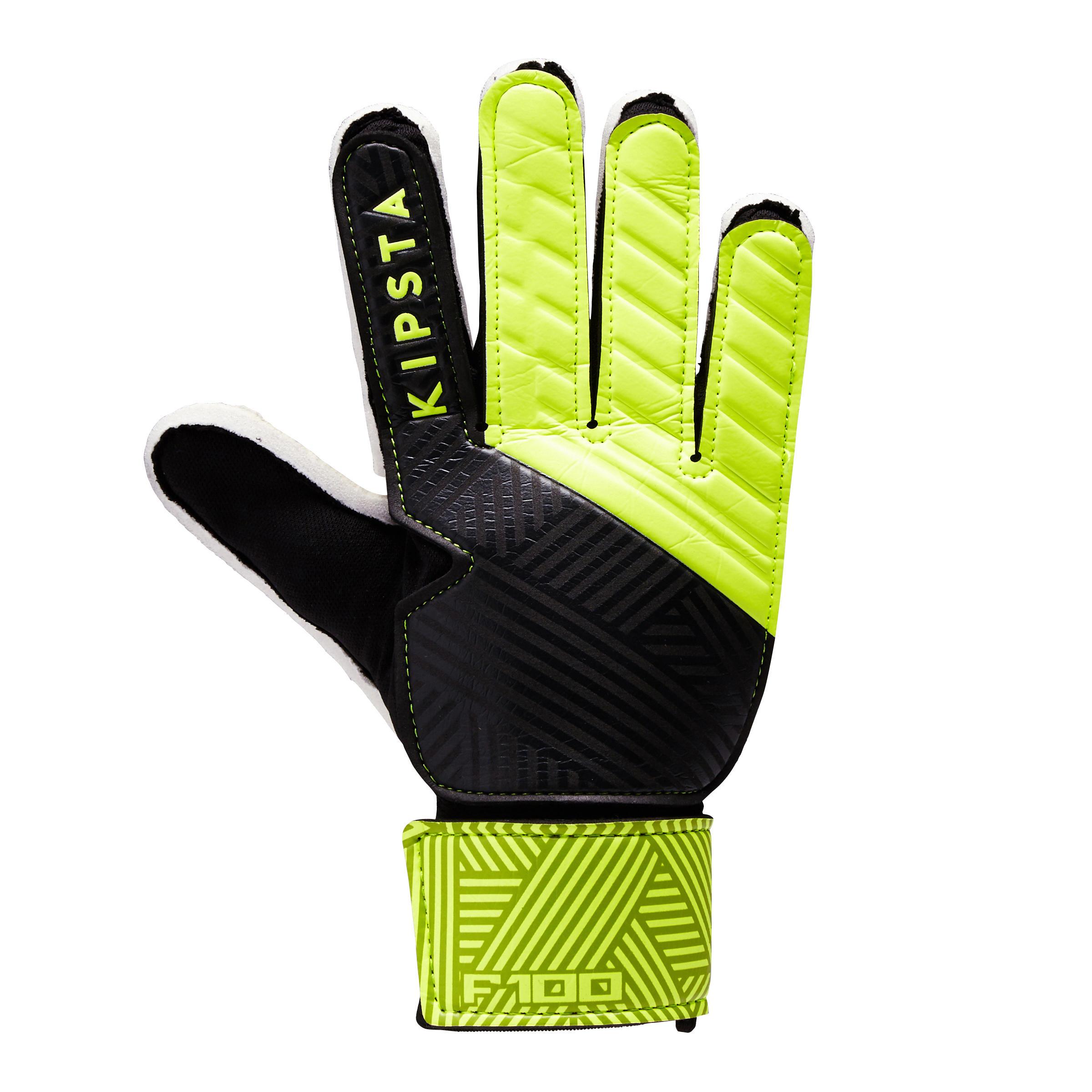 Keepershandschoenen F100 voor kinderen zwart-geel
