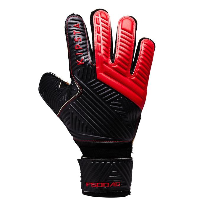 Gant de gardien de football F500 terrain synthétique adulte rouge noir