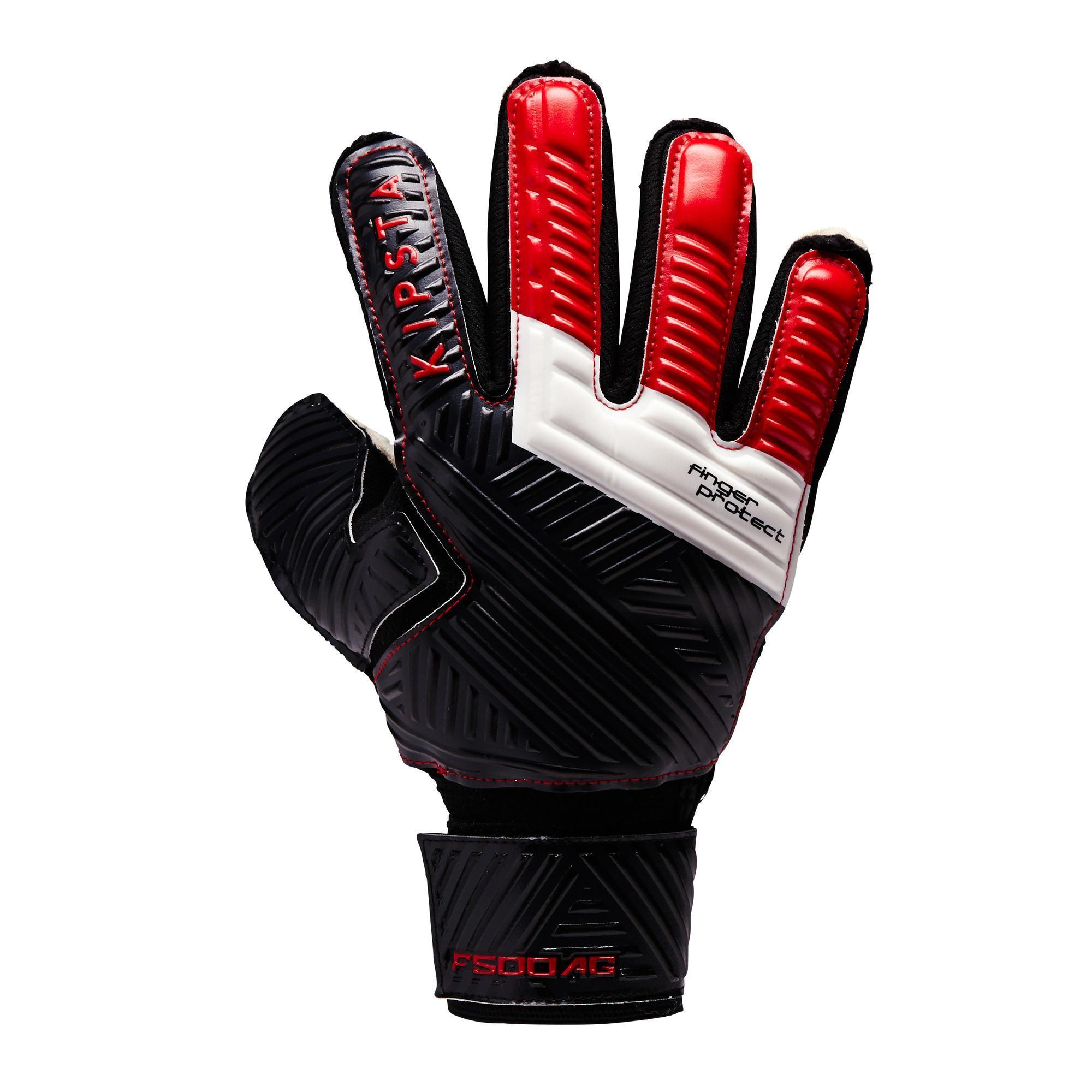 Kipsta Keepershandschoenen kind F500 AG kunstgras finger protect rood/zwart