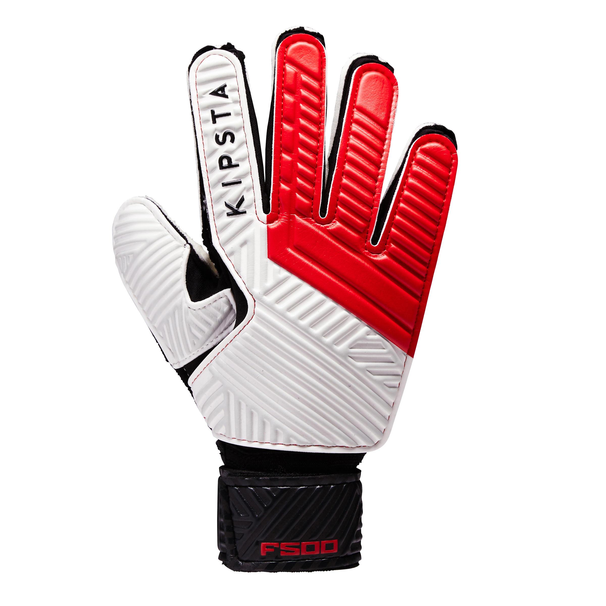Keepershandschoenen F500 voor kinderen rood-zwart