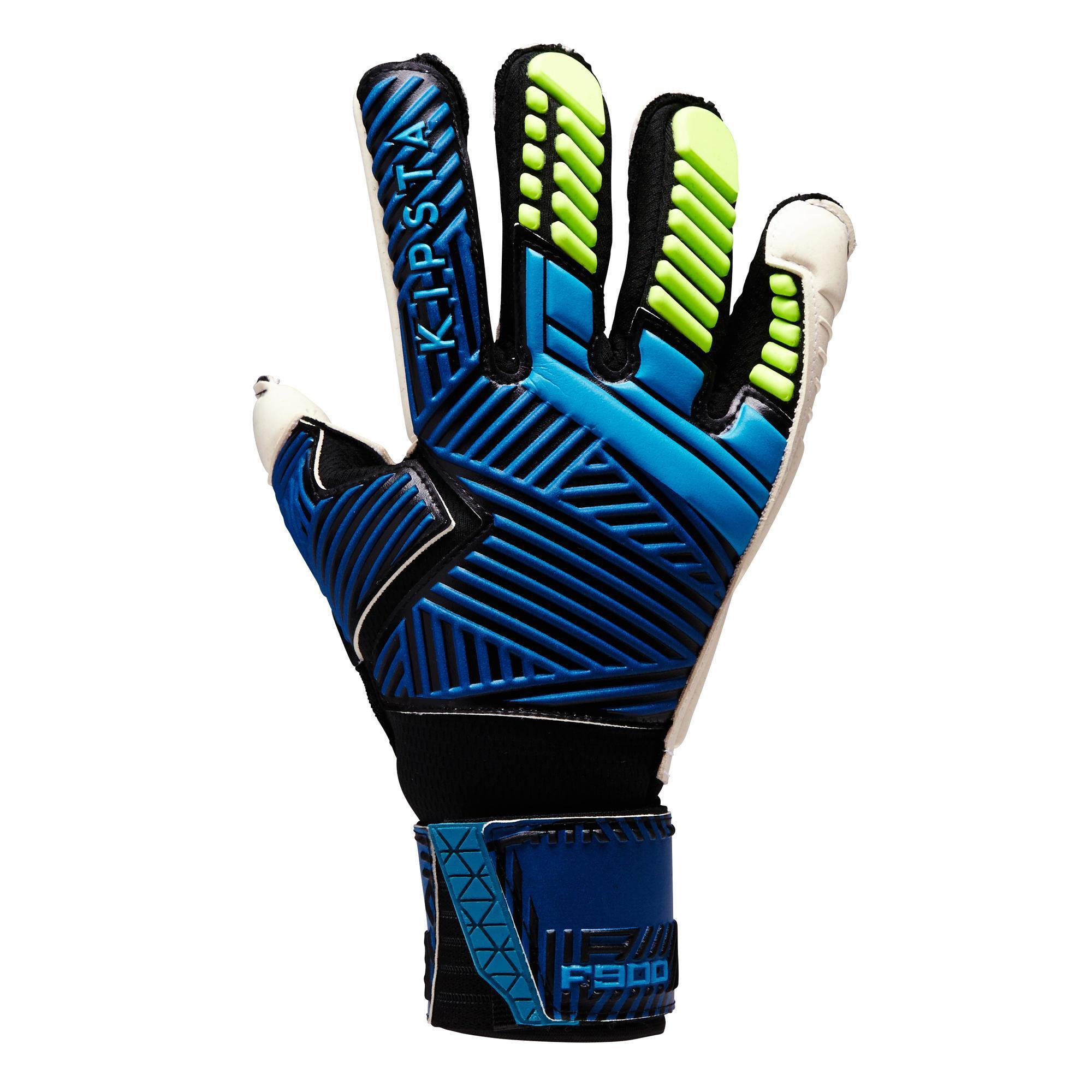 Keepershandschoenen F900 volwassenen, voetbal, blauw-geel