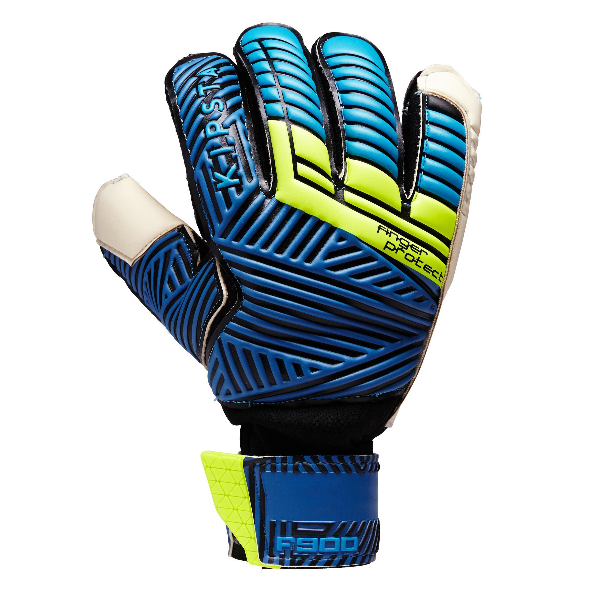 Kipsta Keepershandschoenen F900 finger protect blauw/geel