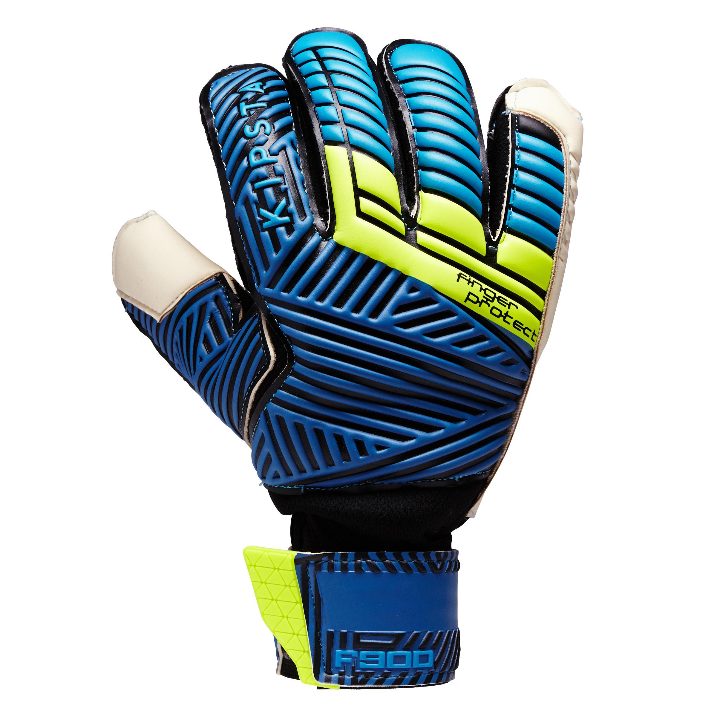 Keepershandschoenen F900 Finger Protect volwassenen, voetbal, blauw-geel