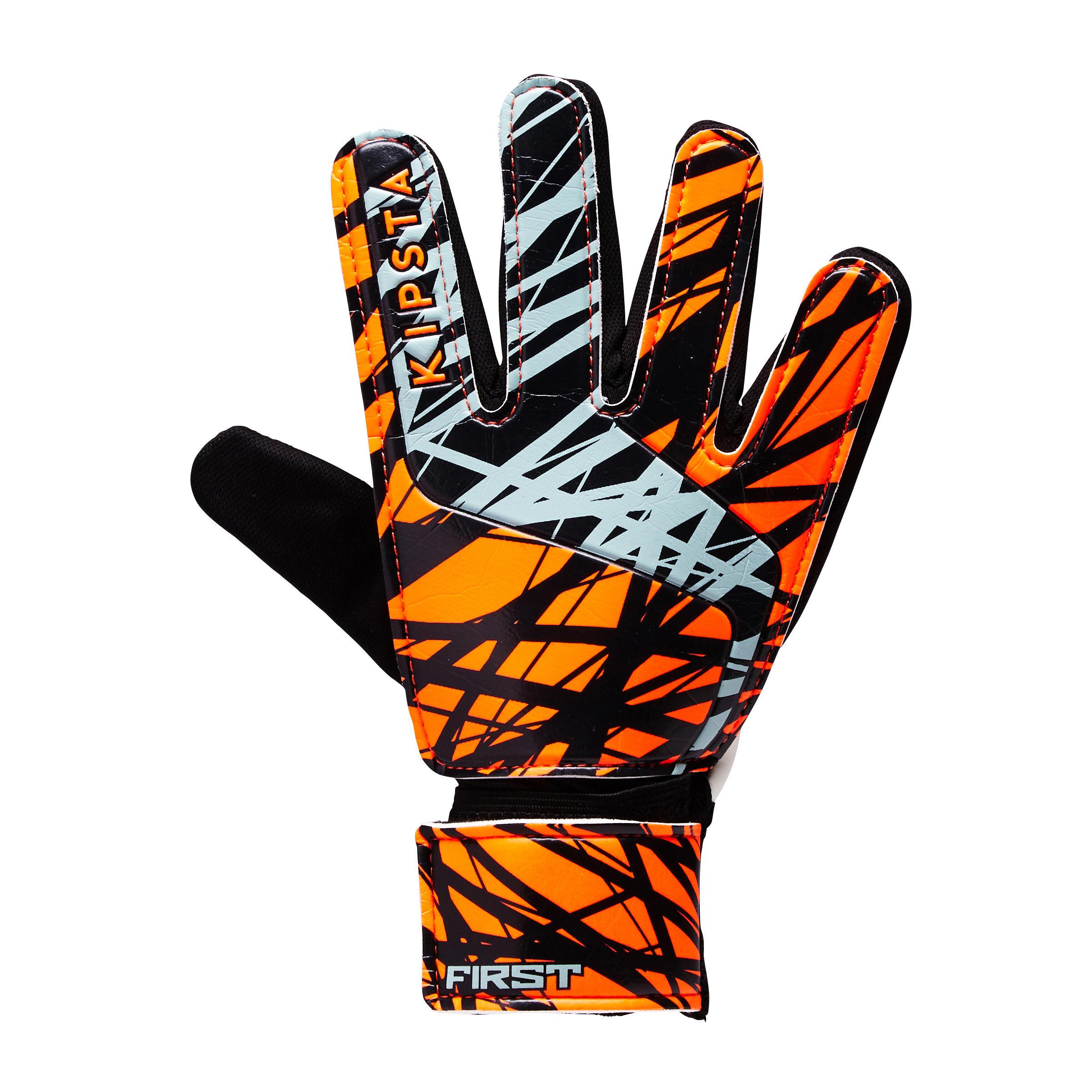 First Kids Soccer Goalkeeper Gloves - Orange/Black/White