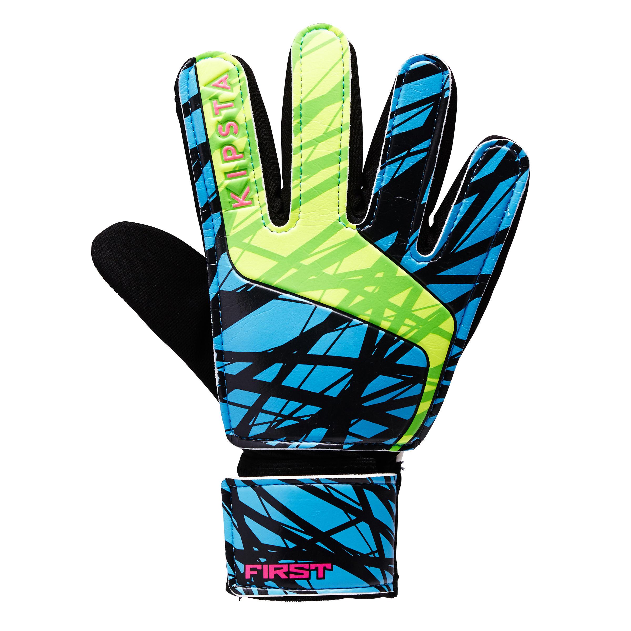 Keepershandschoenen First voor kinderen blauw-roze-geel-groen