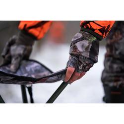 Warme wanten/vingerloze handschoenen voor de jacht dames camouflagemotief