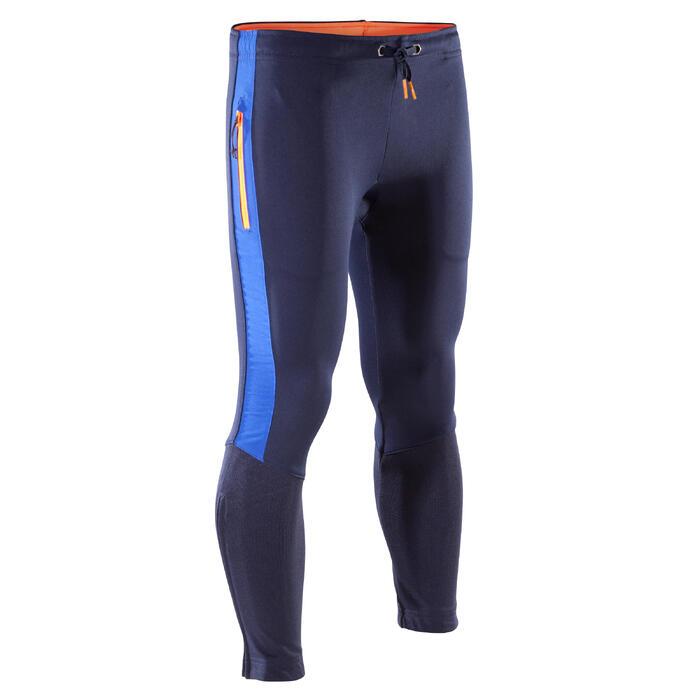 Pantalon d'entraînement de football enfant TP500 bleu noir