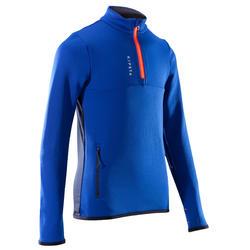 Sweat 1/2 zip d'entrainement de football enfant T500 bleu et rouge vermillon