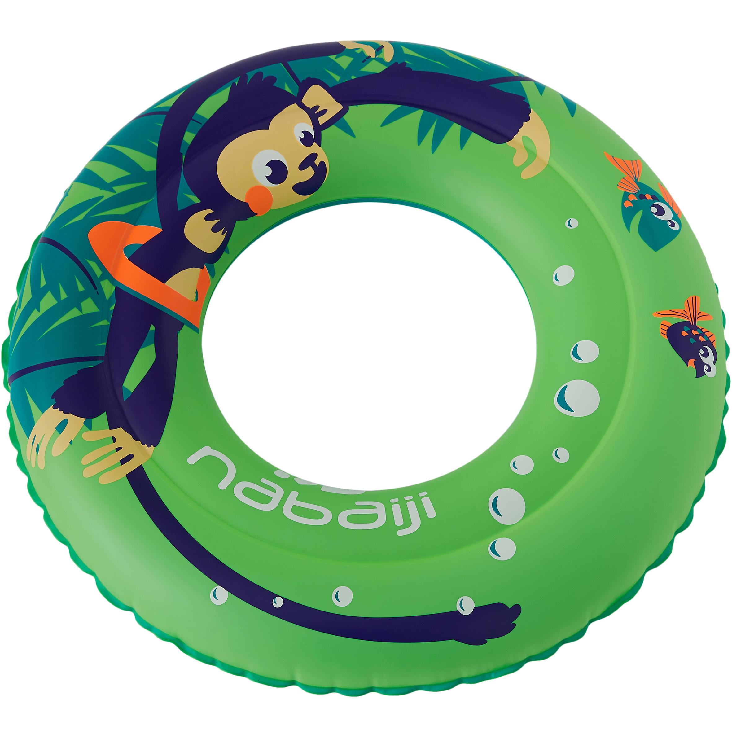Children's inflatable swim ring 3-6 years 51 cm - Monkey print green