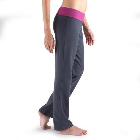 pantalon yoga en coton issu de l 39 agriculture biologique femme gris fonc domyos by decathlon. Black Bedroom Furniture Sets. Home Design Ideas