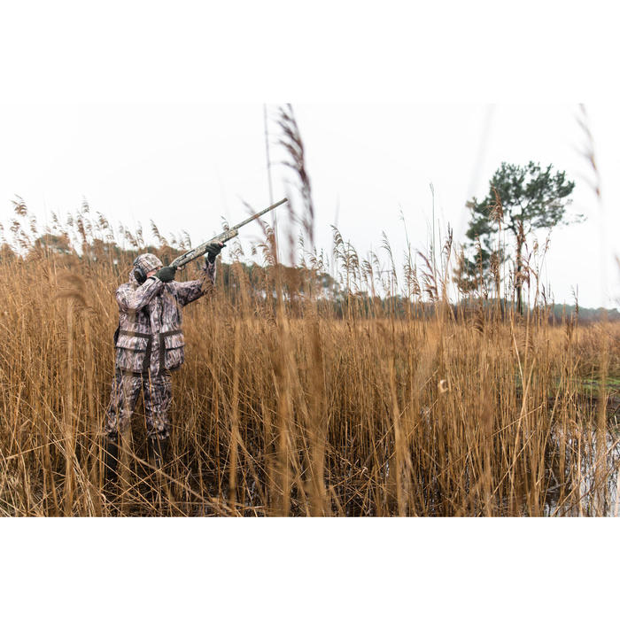 Warme en waterdichte jagersbroek 500 moerascamouflage