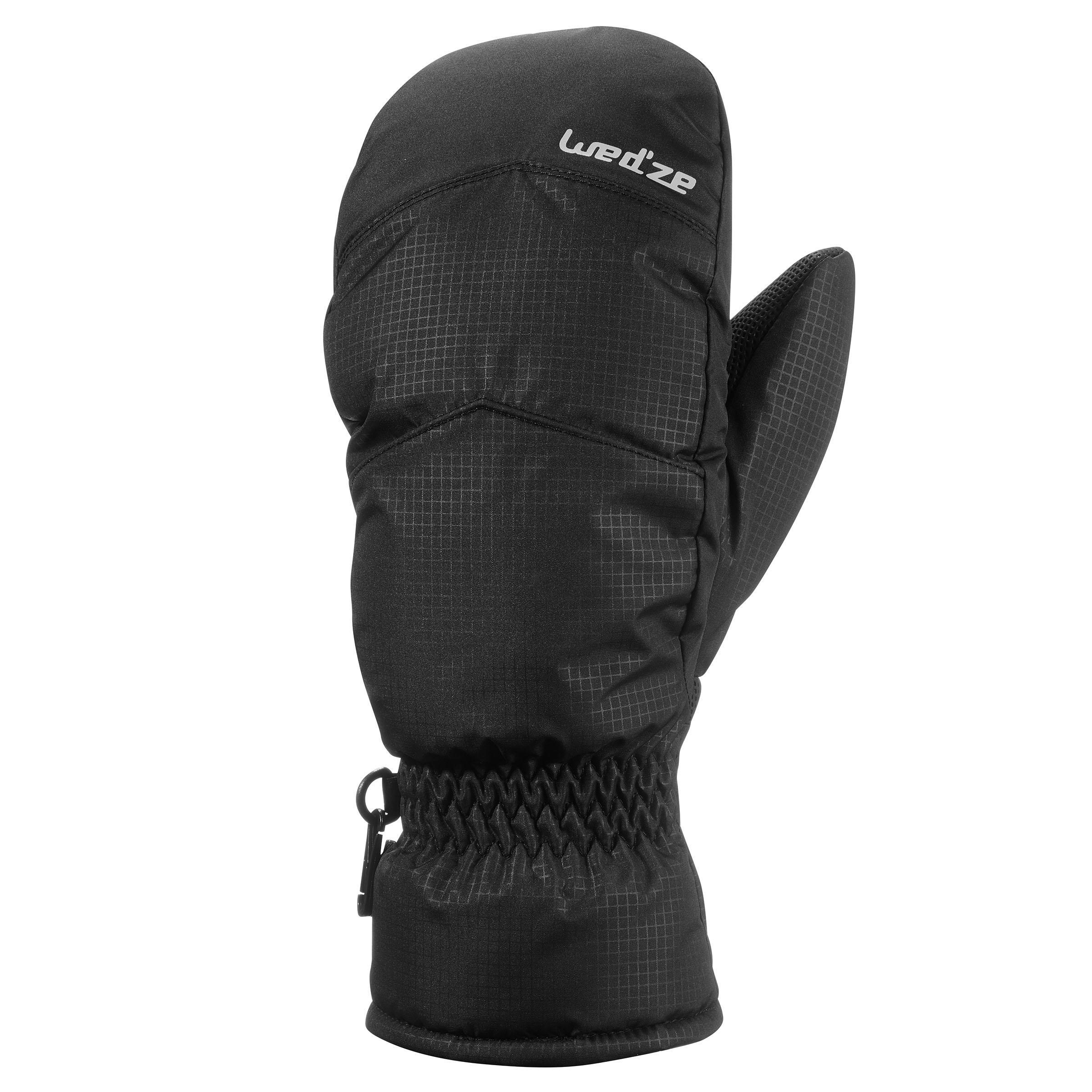 Skihandschuhe Fäustlinge 100 schwarz Erwachsene | Accessoires > Handschuhe > Fäustlinge | Wedze