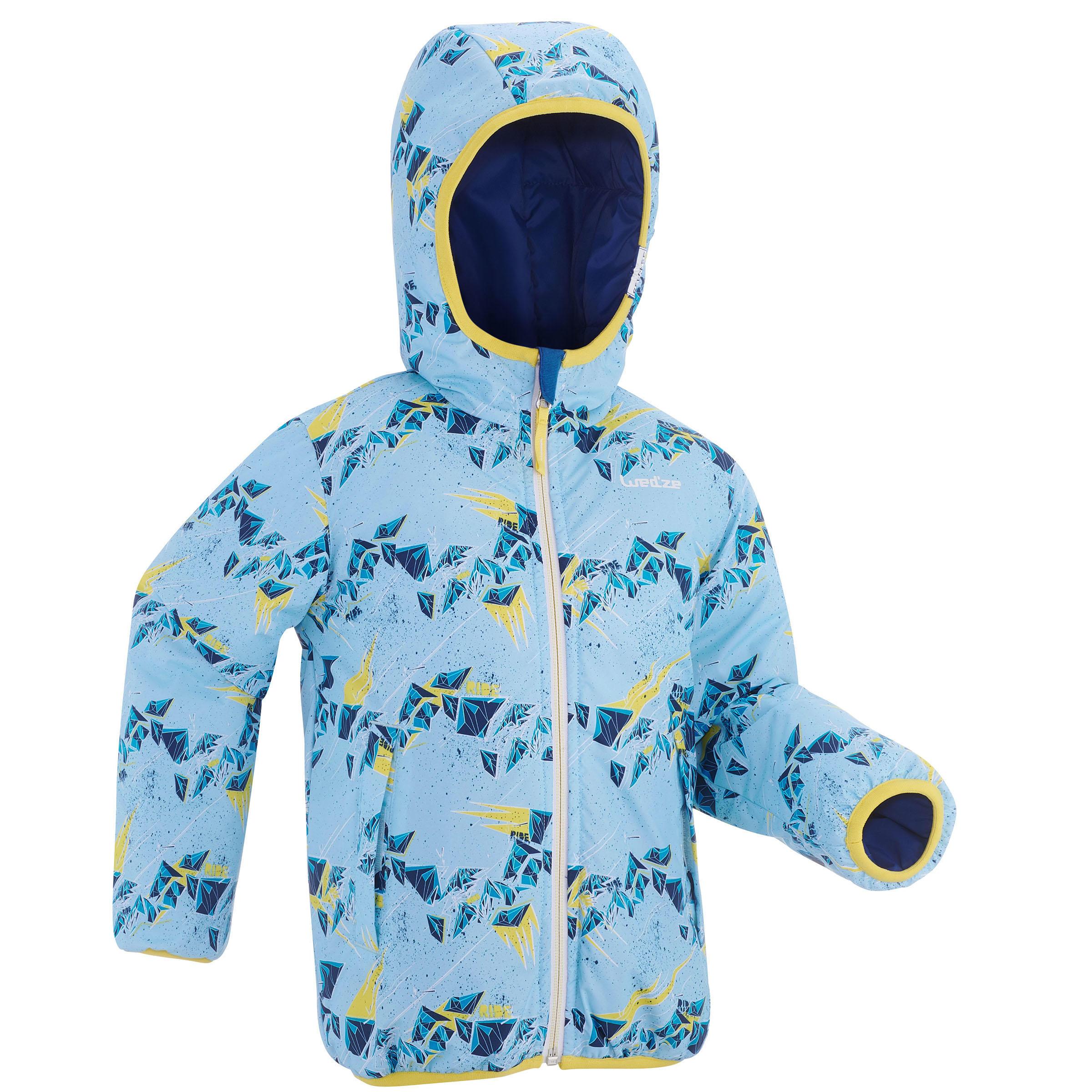 Wed'ze Ski-jas voor kinderen SKI-P JKT 100 Warm omkeerbaar blauw
