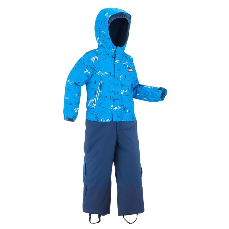 KIDS' WARM AND WATERPROOF SKI SUIT PNF 500 BLUE