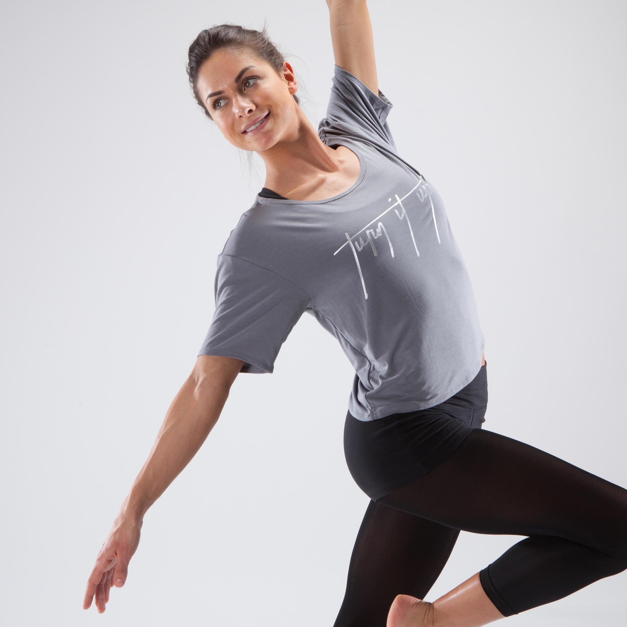 Moderne Kleding Dames.Het Sportplein Domyos Kort Dans T Shirt Voor Dames Dansen Jazz