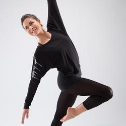 Dansshirt met lange mouwen voor dames zwart