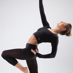 Crop-top manches longues danse moderne femme noir
