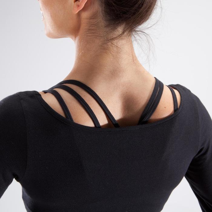 Dames crop-top met lange mouwen voor moderne dans zwart