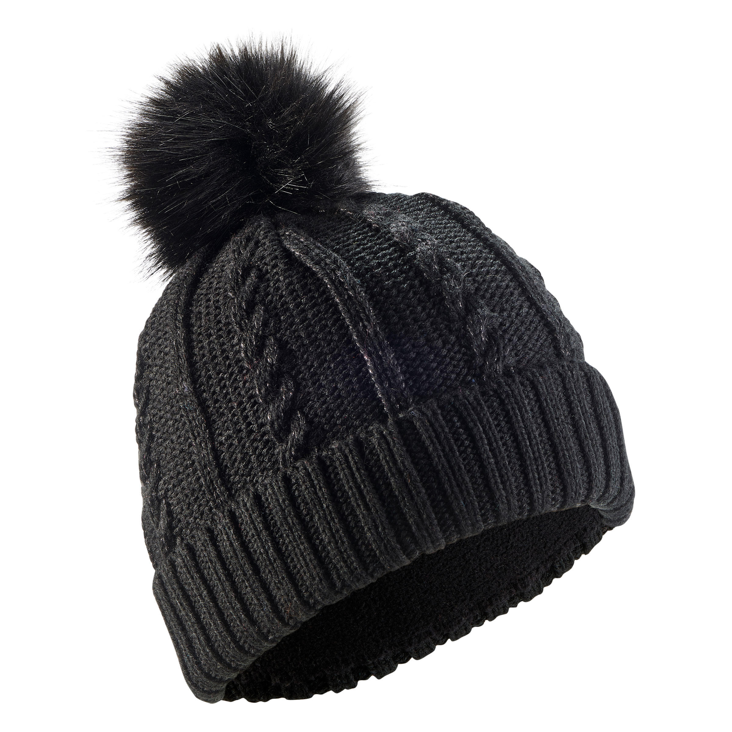 CABLE STITCH ADULT FUR SKI HAT BLACK