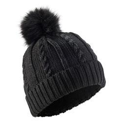 Skimuts met kabelmotief voor volwassenen Fur zwart