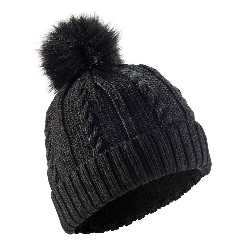 ADULT SKI AND SNOWBOARD HEADWEAR Skiing - Fur Cable-Knit Hat - Black WEDZE - Ski Wear