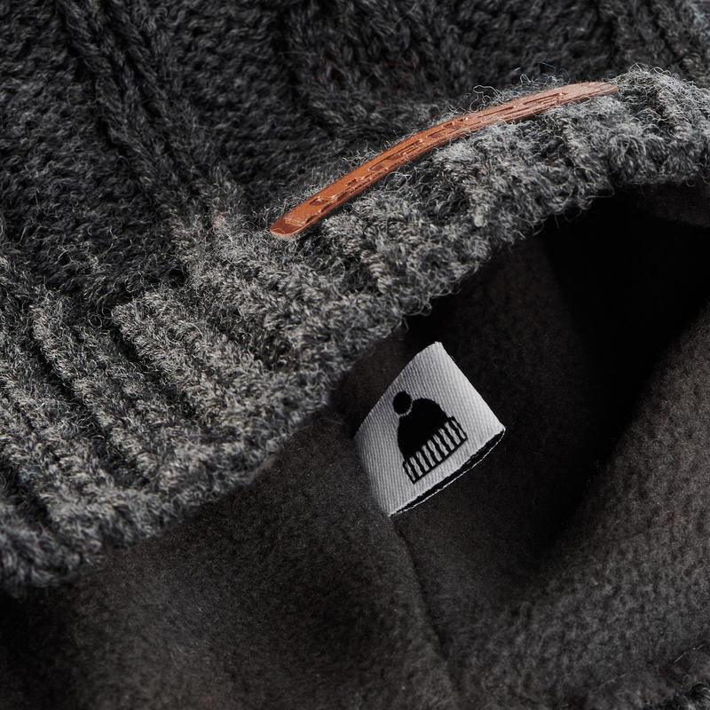 Adult Cable-Stitch Woollen Ski Hat - Grey