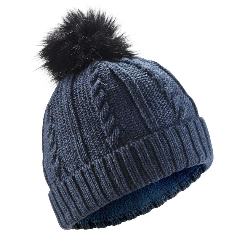 Adult Fur Cable Knit Ski Hat - Navy