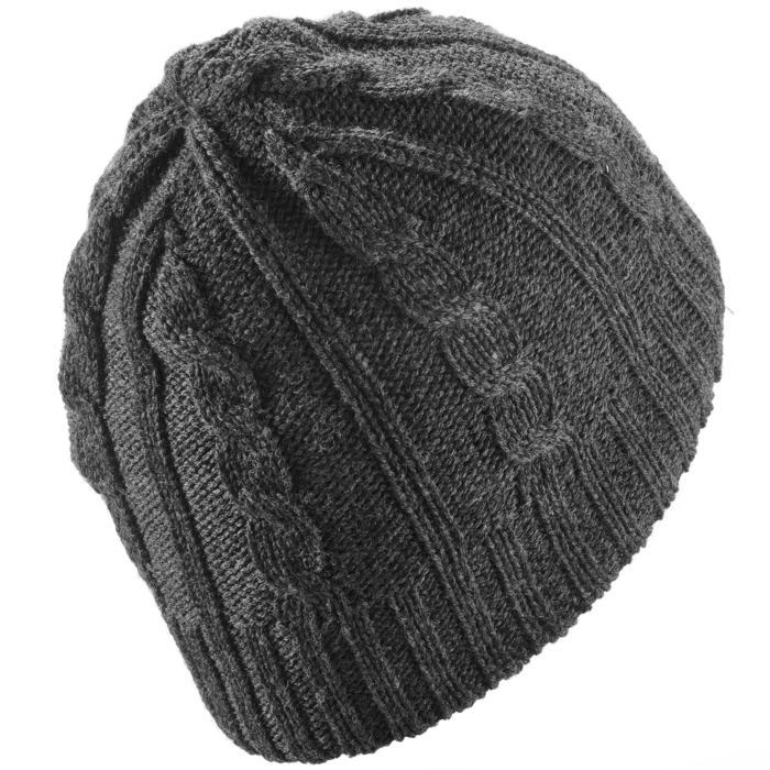 Skimütze Flechtmuster Wolle Erwachsene grau