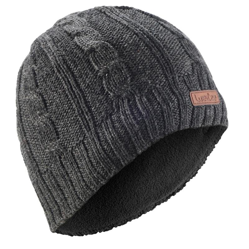 ADULT CABLE-KNIT WOOL SKI HAT GREY