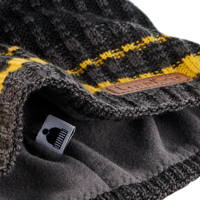 ADULT RIB SKIING HAT BLACK OCHRE