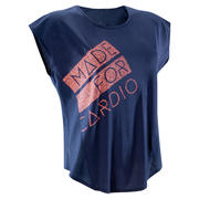 120 Women's Cardio Fitness Loose-Fit T-Shirt - Navy/Coral Print