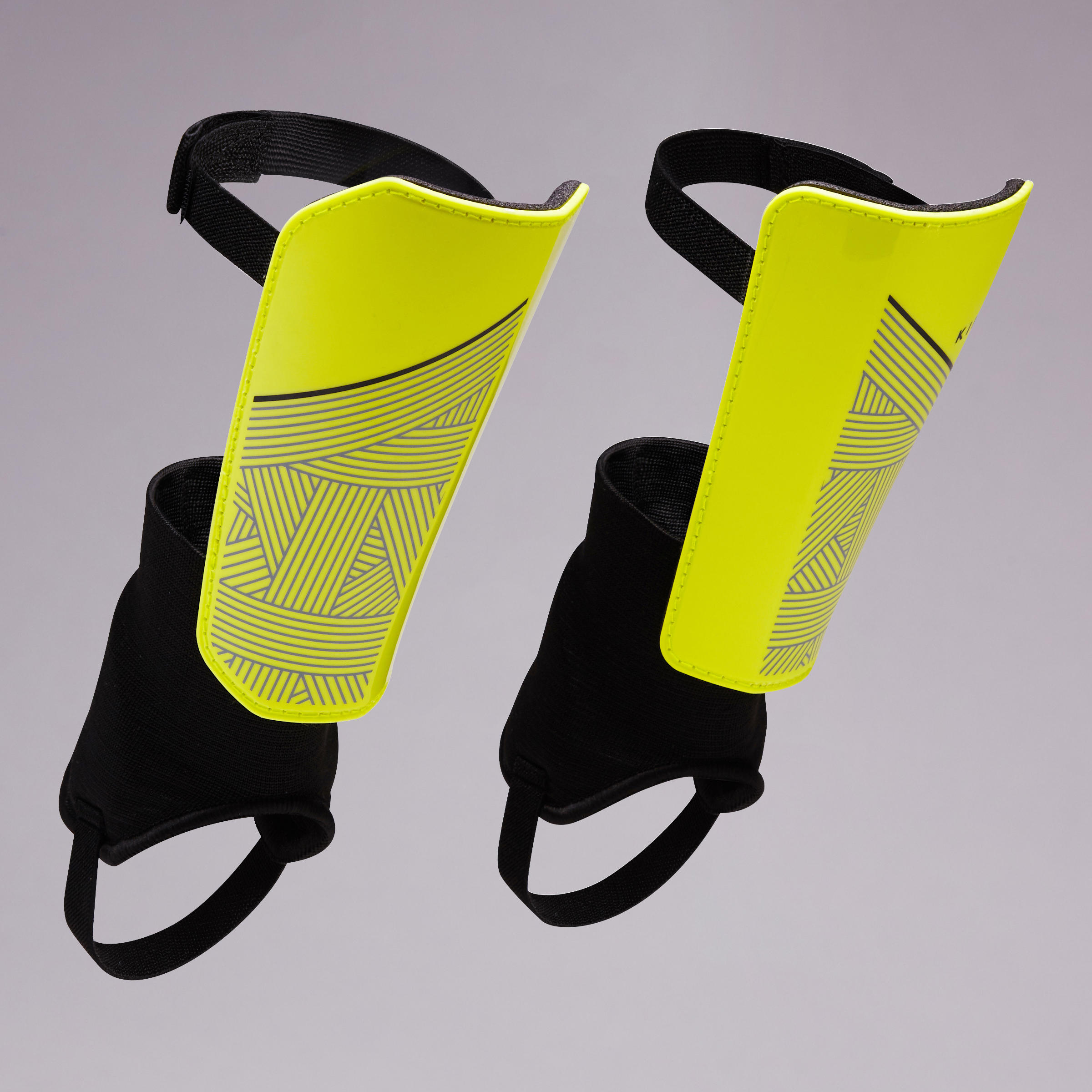 F140 Adult Football Shin Guards with Detachable Ankle Support - Yellow/Black