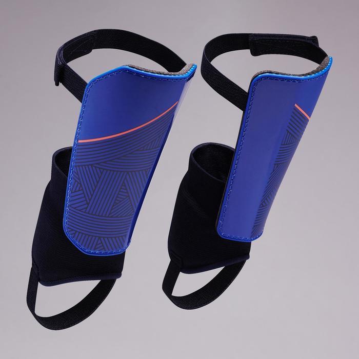 Schienbeinschoner F140 mit herausnehmbarem Knöchelschutz Kinder blau/orange