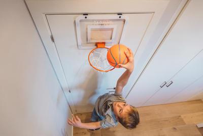Mini B Deluxe Kids Adult Basketball Wall Mounted Backboard Set
