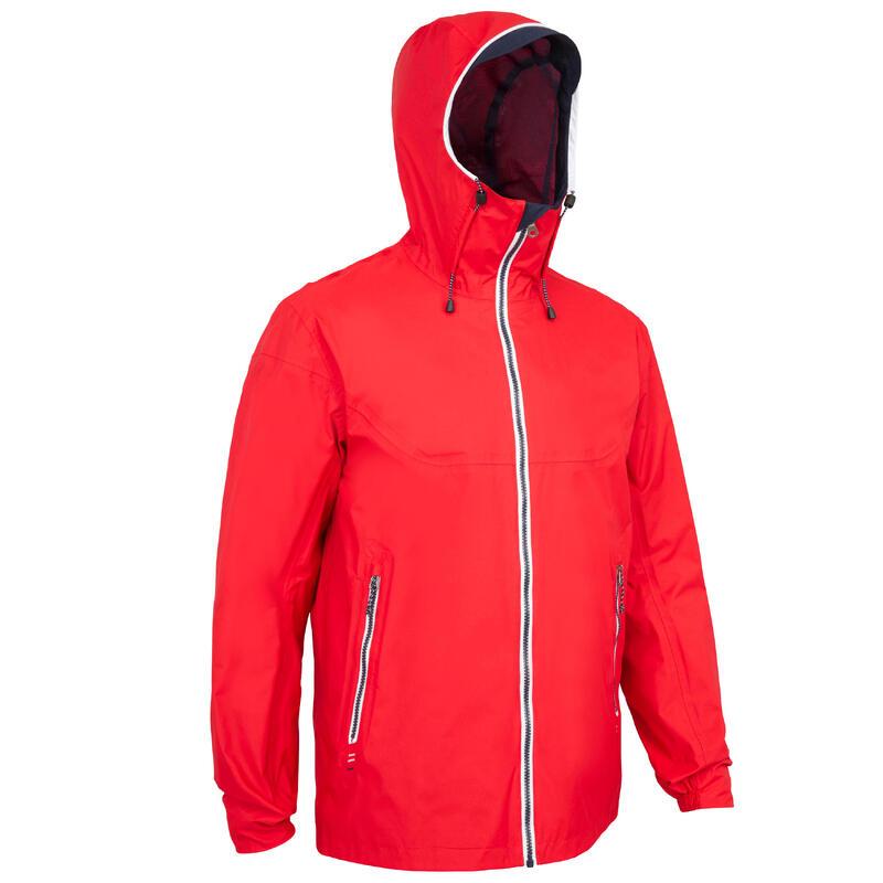Veste imperméable de voile - veste de pluie coupe vent SAILING 100 homme Rouge