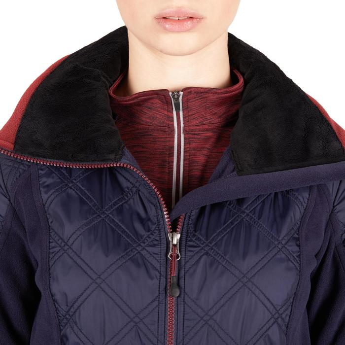 Fleecejacke 500 Warm Damen marineblau/bordeaux