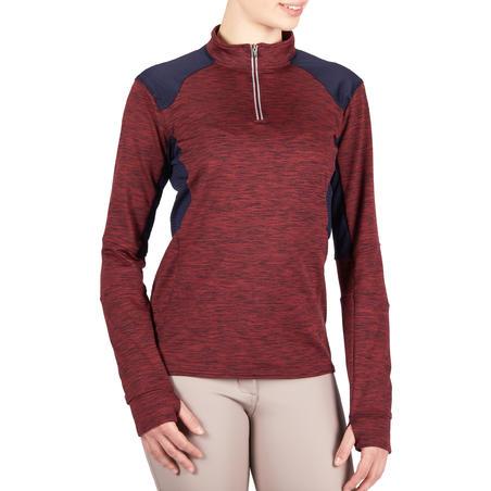 500 Warm Women's Horseback Riding Long-Sleeved Polo Shirt - Burgundy/Navy