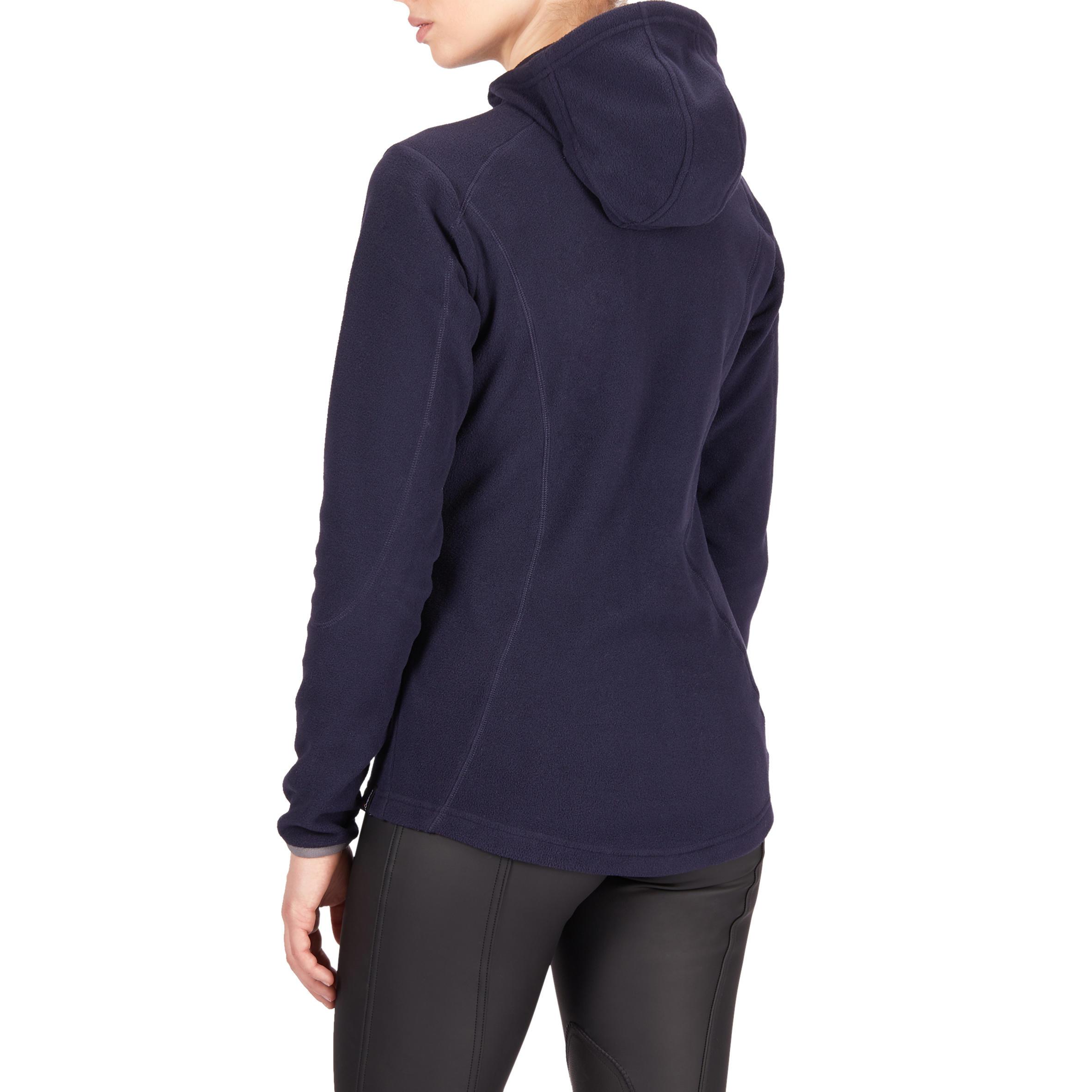 Women's Horseback Riding Hooded 2-In-1 Fleece Sweater - Navy