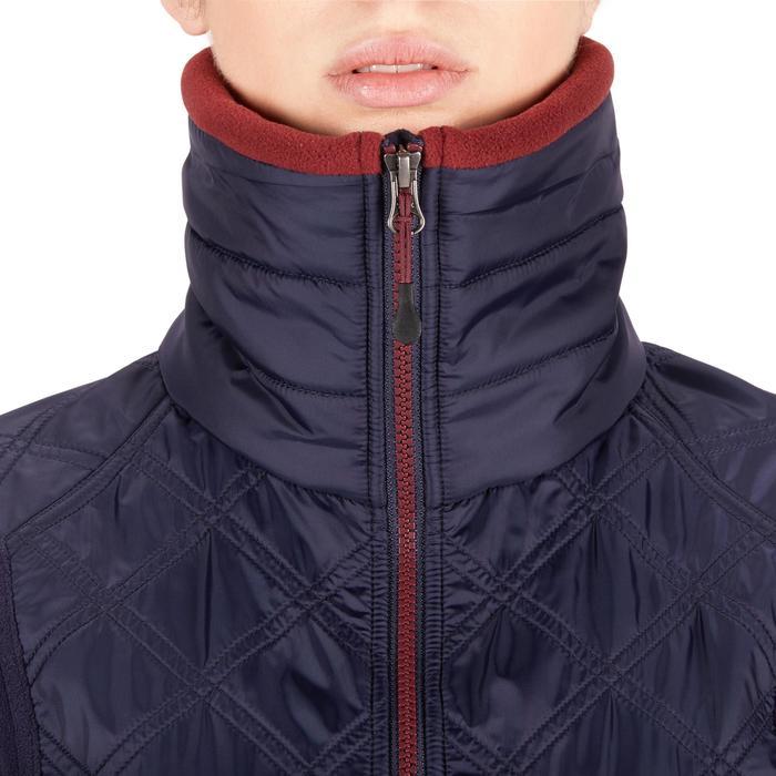 Warme fleece voor paardrijden dames 500 marineblauw/bordeaux