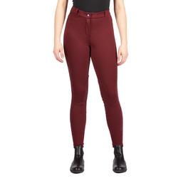 Pantalon chaud équitation femme 100 CHAUD bordeaux
