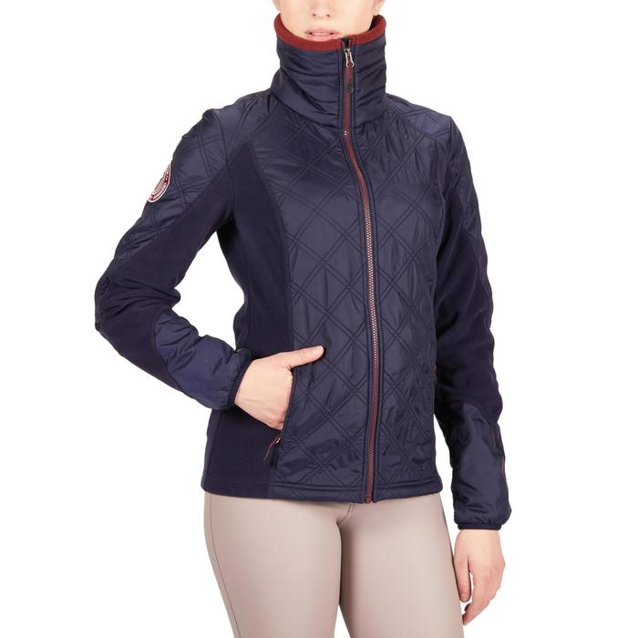 Reit-Fleecejacke 500 Damen marineblau/bordeaux