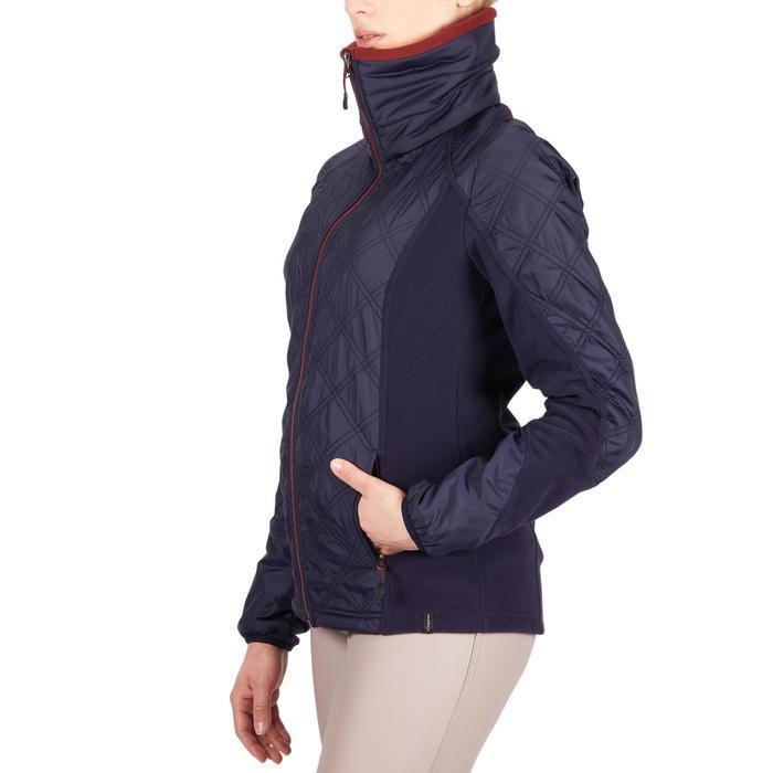 Reit-Fleecejacke 500 Warm Damen marineblau/bordeaux