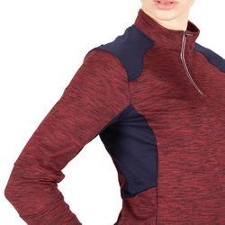 Warme damespolo met lange mouwen ruitersport 500 Warm bordeaux/marineblauw