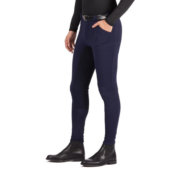 Warme paardrijbroek heren BR180 kunstleren zitvlak marineblauw