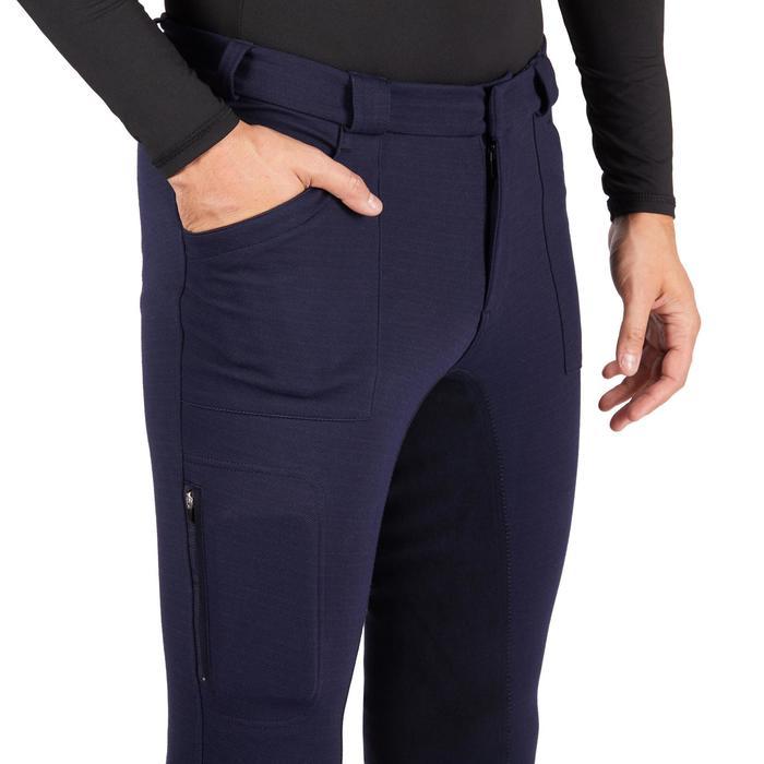 Warme rijbroek voor heren met ingezet zitvlak 180 FS marineblauw