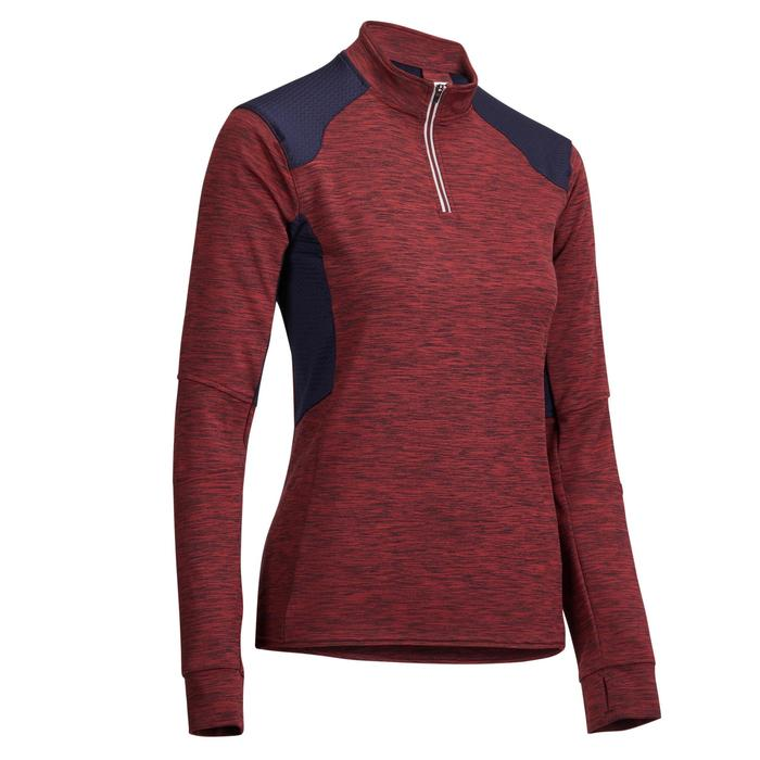 Warme damespolo met lange mouwen ruitersport 500 Warm bordeaux/marineblauw