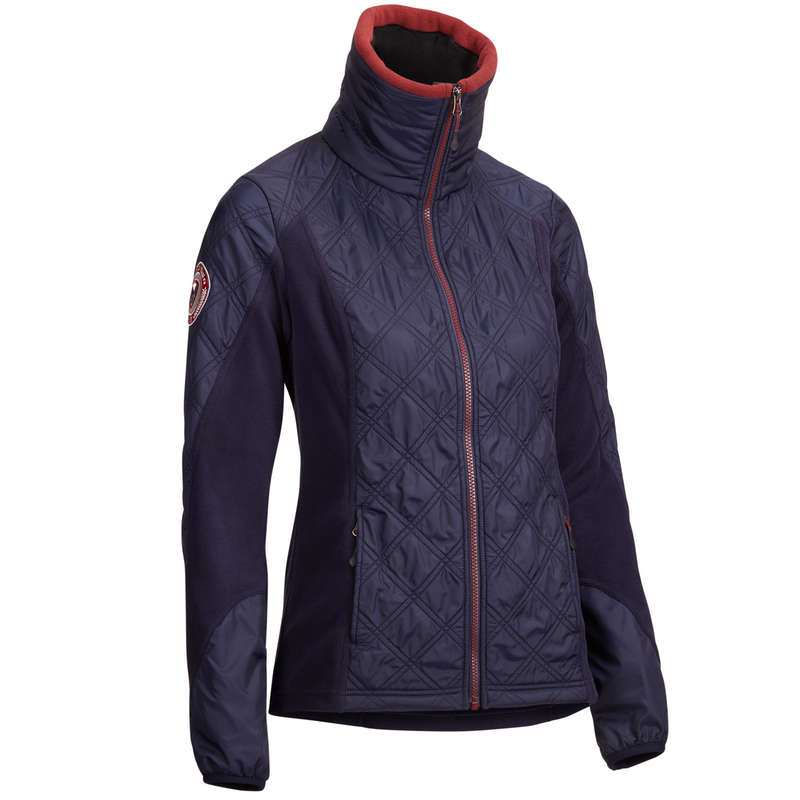 COLD WEATHER WOMAN RIDINGWEAR Horse Riding - 500 Fleece - Navy/Burgundy FOUGANZA - Horse Riding