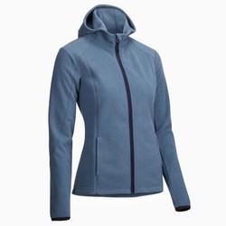 2-in-1 damesfleece met kap ruitersport blauw
